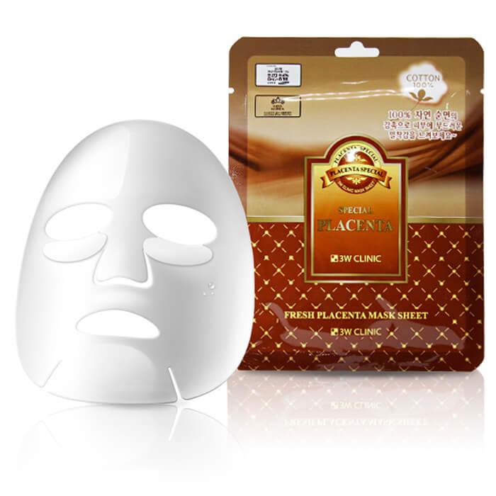 Тканевая маска для лица с экстрактом плаценты 3W Clinic Fresh ...