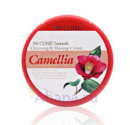 3W CLINIC Очищающий и массажный крем для лица КАМЕЛИЯ Smooth Cleansing&Massage Cream Camellia, 300мл